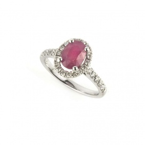 18k White Gold Ruby and Diamond Ring 1.28ct